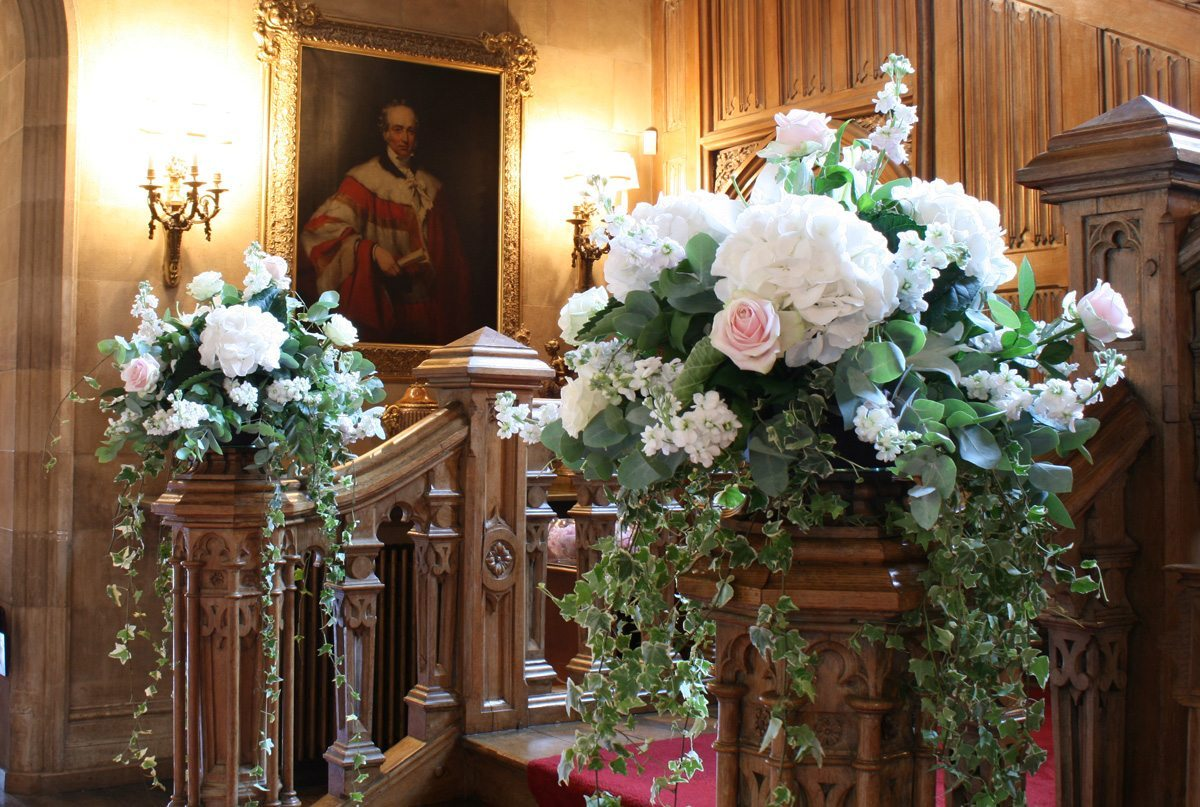 Highclere Castle staircase flowers