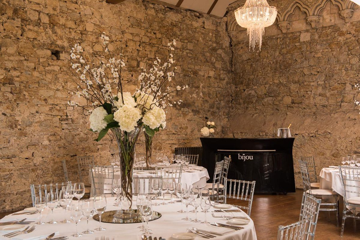 Tall table centres Notley Abbey