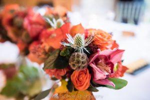 Bridesmaids bouquets in autumn colours